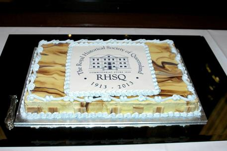 RHSQ birthday cake with logo